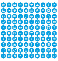100 musical education icons set blue vector