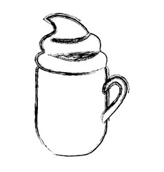 blurred silhouette mug of cappuccino with cream vector image vector image