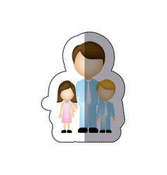 Color man with his children icon vector