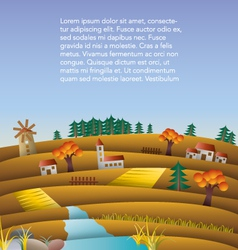 Hills and fields landscape vector