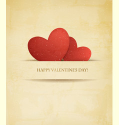 Holiday vintage Valentines day background Two red vector image vector image