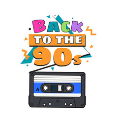 old fashioned audio cassette tape from 90s vector image vector image