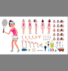 tennis player female animated character vector image