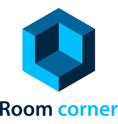 3d isometric room corner blue symbol vector image vector image