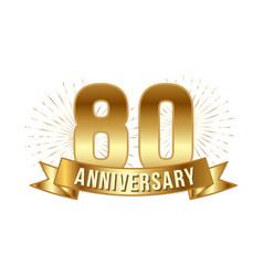 anniversary golden eighty years number vector image