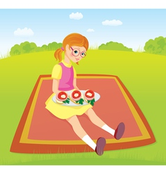 Girl on picnic and sandwiches vector image vector image