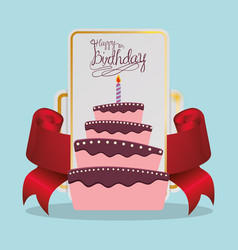 happy birthday cake card festive vector image