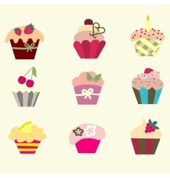 set of cupcake vector image