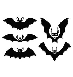 set of halloween bat icons monster bats vector image