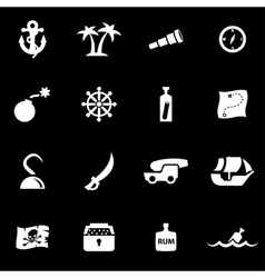 white pirate chart icon set vector image