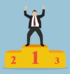 Businessman celebrates on Winning Podium vector image vector image