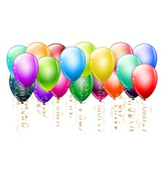 colorful balloons with gold vector image vector image