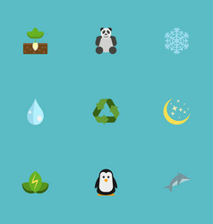 flat icons bear winter snow sprout and other vector image vector image