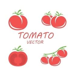 flat tomato icons set vector image