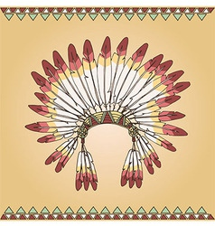 Hand drawn native american indian chief headdress vector image vector image