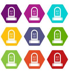 Headstone icon set color hexahedron vector