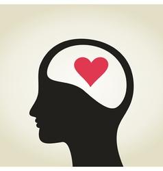 Heart in a head vector image vector image