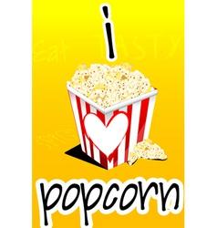 I love popcorn vector image vector image