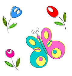 springtime flowers and butterflies vector image vector image