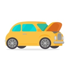 Yellow Vintage Retro Car Isolated on White vector image