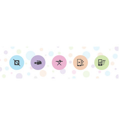5 cable icons vector