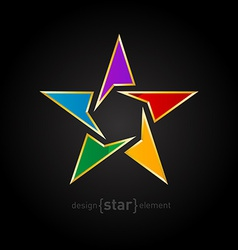 Abstract rainbow star with golden border on black vector image
