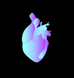 Anatomical heart bright blue gradient vector
