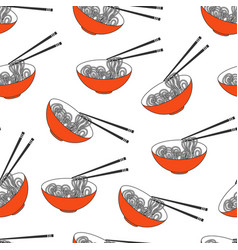 Asian food ramen noodles bowl vector