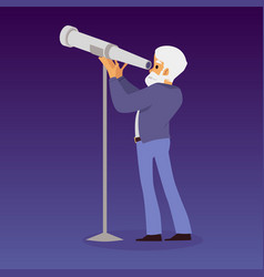 Astronomy scientist or astronomer looking through vector
