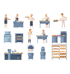 Bakery cartoon icons set vector