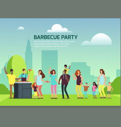 Barbeque party design cartoon character families vector