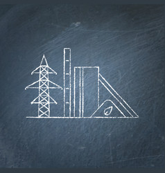 Biomass power station chalkboard sketch vector