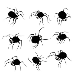 Black silhouette spider icons set isolated on vector