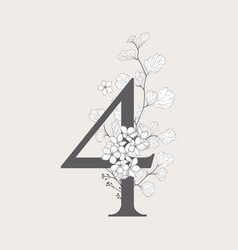 Blooming floral number 4 monogram and logo vector
