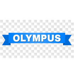 Blue ribbon with olympus text vector