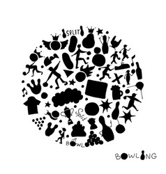 bowling icons set sketch for your design vector image