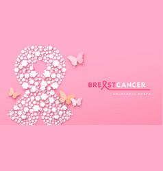 breast cancer month banner paper flower ribon vector image