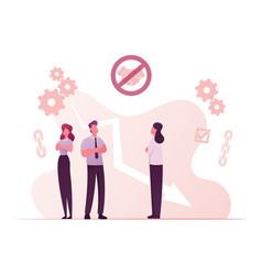 Broken trust concept business characters stand vector