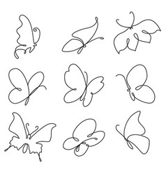 Butterfly continuous line drawing set vector