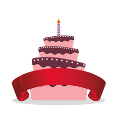 cake birthday candle and red ribbon vector image