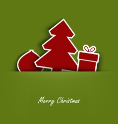 Christmas cards with pocket and tucked tree gift vector
