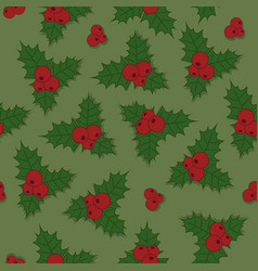christmas seamless pattern holly berry with green vector image