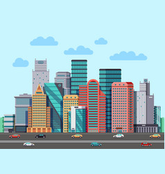 City buildings panorama urban architecture vector