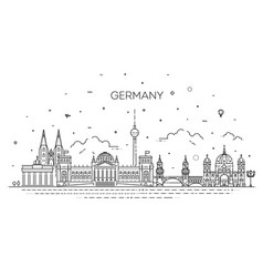 cityscape with all famous buildings vector image