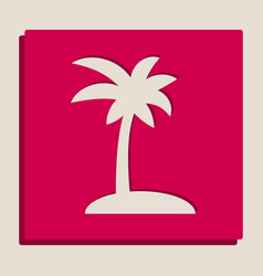 Coconut palm tree sign grayscale version vector