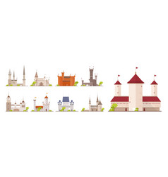 collection of ancient castles fortresses vector image