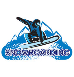 Color template with snowboarder in a jump vector