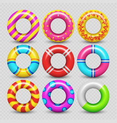 Colorful realistic rubber swimming ring vector