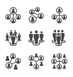 connecting people icon set vector image
