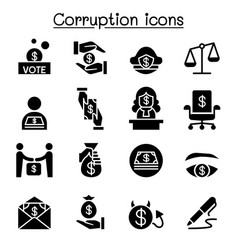 Corruption dishonesty icon set graphic design vector